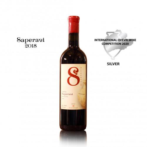 Грузинское красное сухое вино Qvevri 8Millenium Saperavi 2018