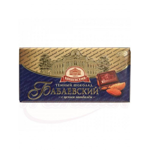 """Dark chocolate """"Babaevsky"""" with whole almonds, 100g"""