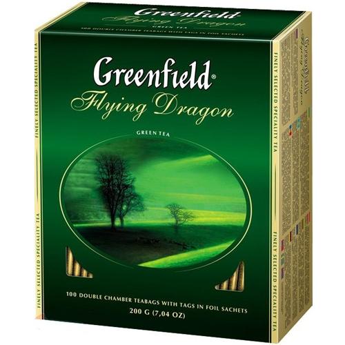 """Зеленый чай Greenfield """"Flying Dragon"""", в пакетиках 100 х 2г"""