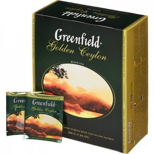 "Черный чай Greenfield ""Golden Ceylon"", в пакетиках 100 х 2г"