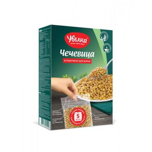 "Lentils in five cooking bags ""Uvelka"" 80g each"