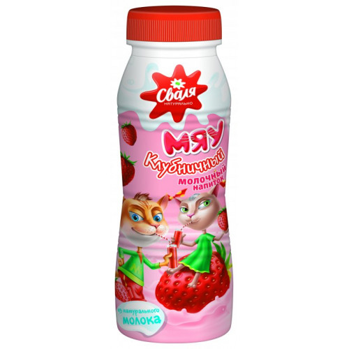 Svalya Meow Milk Drink with Strawberry Flavor, 250ml
