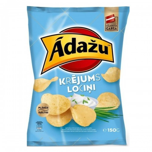 Chips ĀDAŽU Krējums un Lociņi with taste of sour cream and green onions, 150g