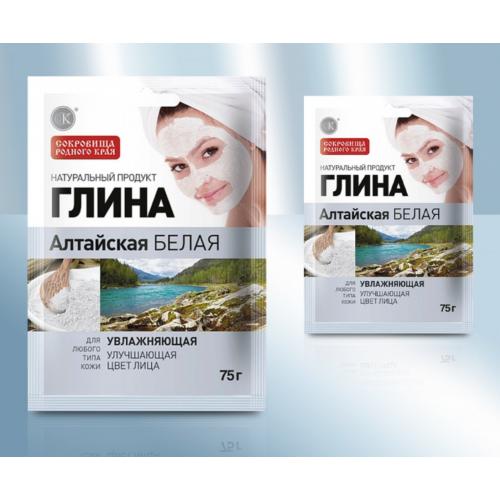 """Глина белая """"Алтайская """" увлажняющая, 75г"""