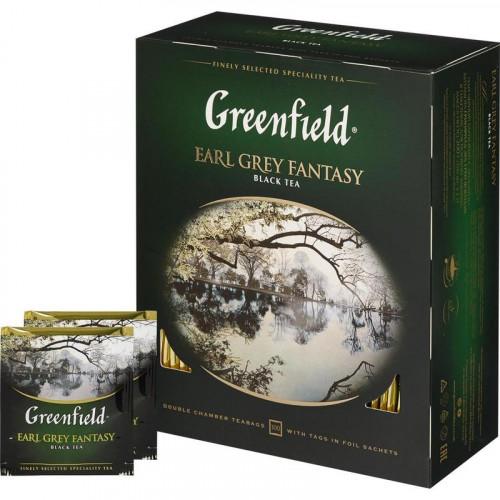 """Чорний чай Greenfield """"Earl Grey Fantasy"""", в пакетиках 100 х 2г"""