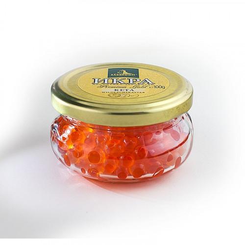 Chum salmon caviar Zarendom Premium Gold in a glass jar, 100g