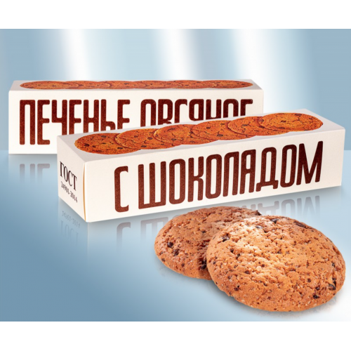 Classic oatmeal cookies with chocolate pieces and cream, 250g