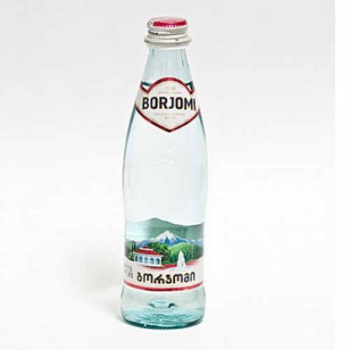 Carbonated Borjomi mineral water in a glass bottle, 0.5l