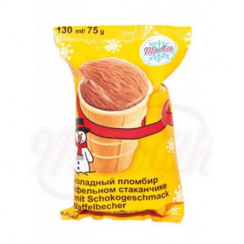 Chocolate ice cream sundae in a waffle cup, 130g