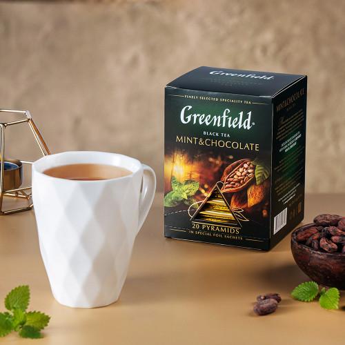 """Чай чорний Greenfield """"Mint&Chocolate"""" в 20 пірамідках по 2г"""