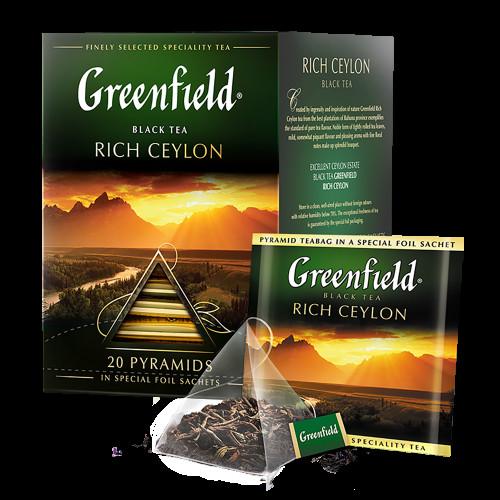 """Чай чорний Greenfield """"Rich Ceylon"""" в 20 пірамідках по 2г"""
