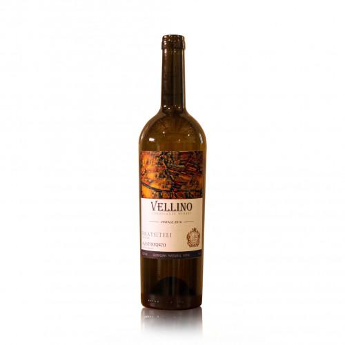 Грузинское оранжевое полусухое вино Vellino Rkatsiteli 2019