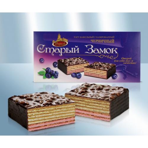 """Вафельный торт глазированный шоколадом """"Черничный"""", 250г"""